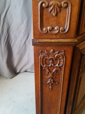 LARGE ORNATE LIEGES CARVED OAK CORNER CABINET