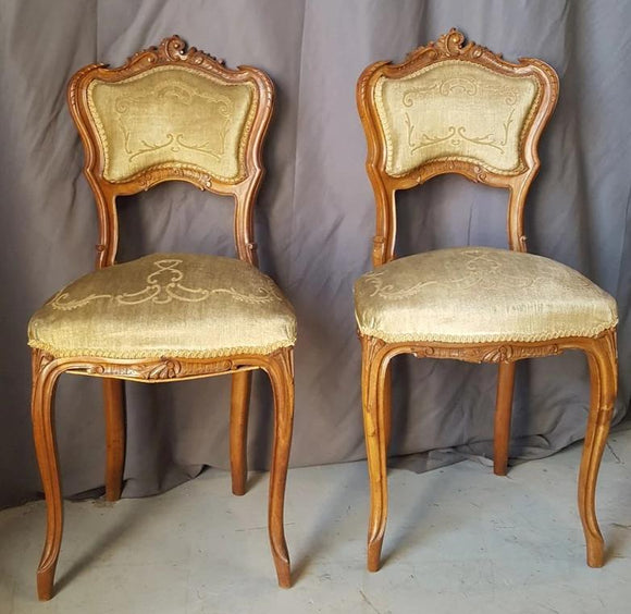 PAIR OF  LOUIS XV BOUDOIR CHAIRS