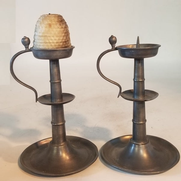 PAIR OF PEWTER CANDLE STICKS