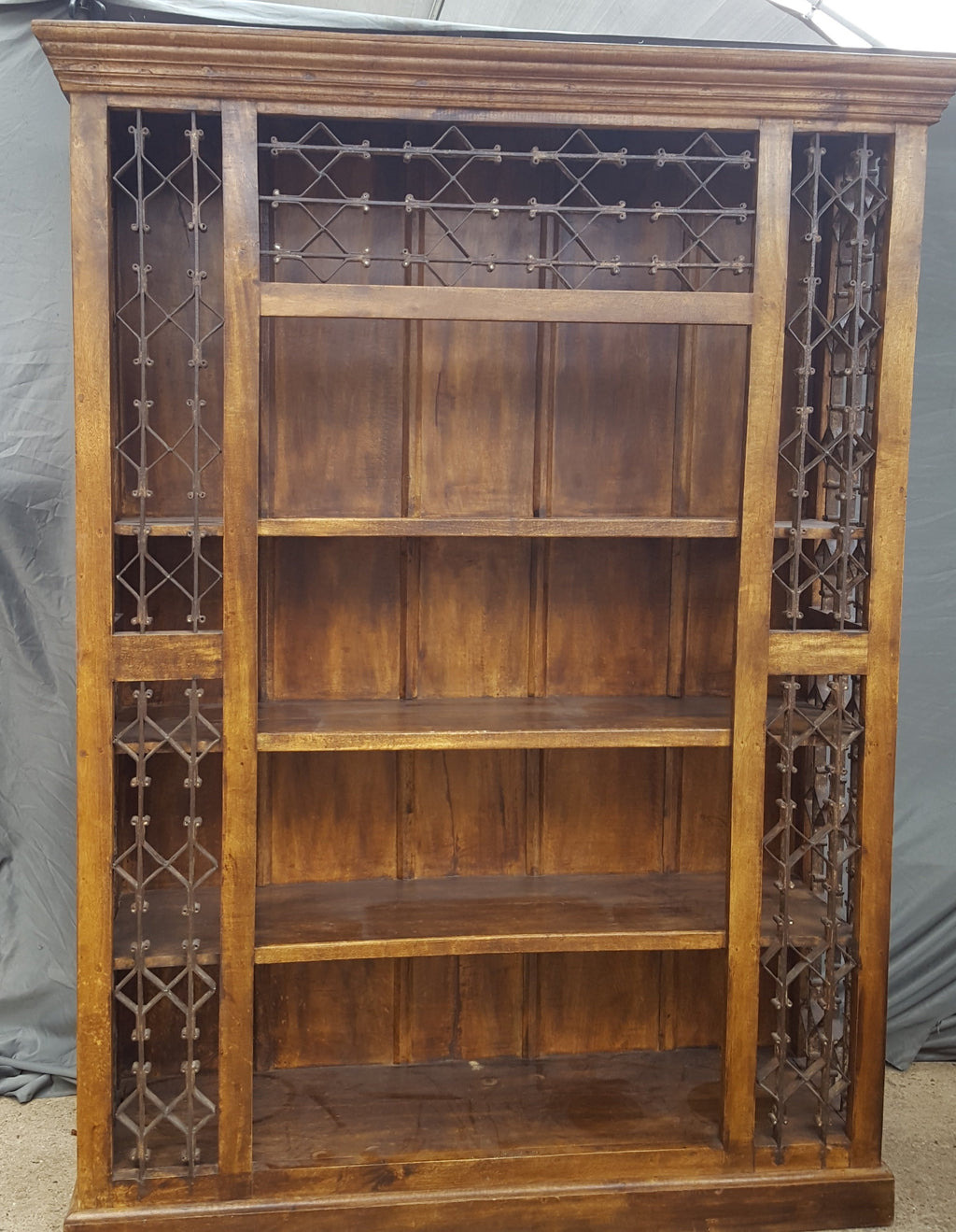 LARGE INDIAN BOOKCASE WITH GREAT IRON EMBELLISHMENTS