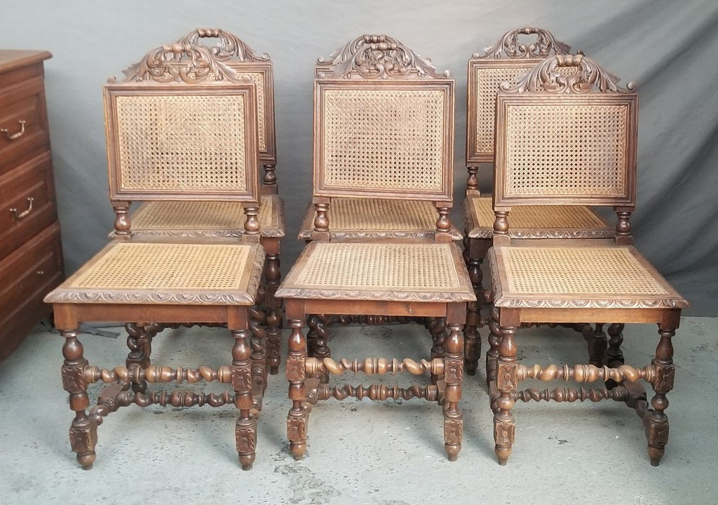 SET OF 6 BARLEY TWIST OAK CHAIRS WITH CANE SEATS AND BACKS