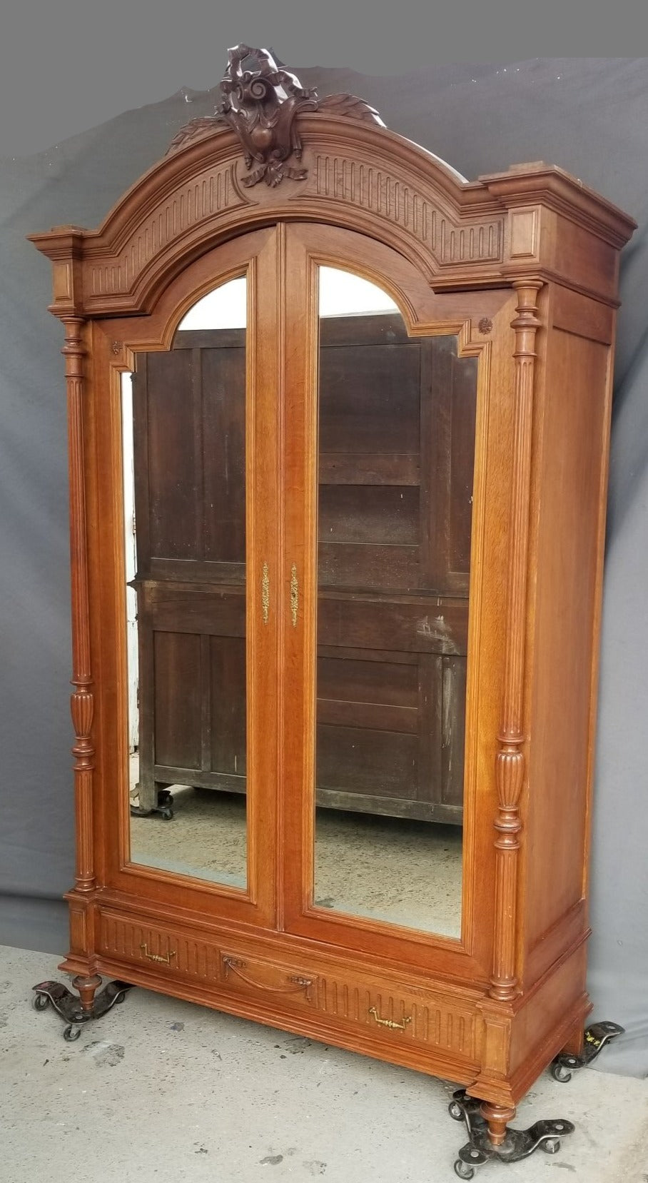 LOUIS XVI ARCHED MIRROR DOOR ARMOIRE