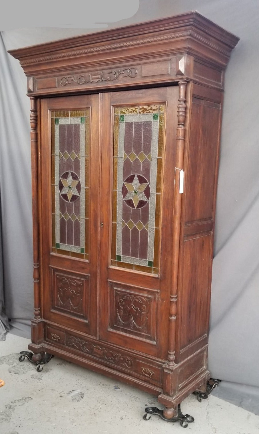 HENRI II BOOKCASE WITH  STAINED GLASS DOORS
