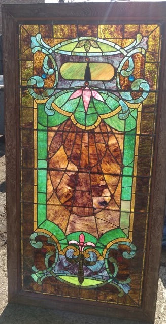 LARGE AMERICAN STAINED GLASS WINDOW