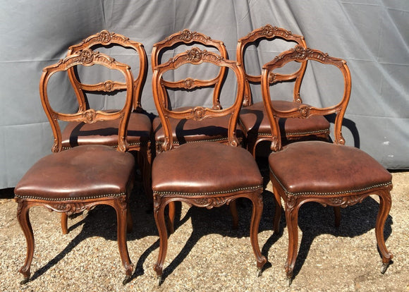 SET OF 6 WIDE SEAT LOUIS XV CHAIRS