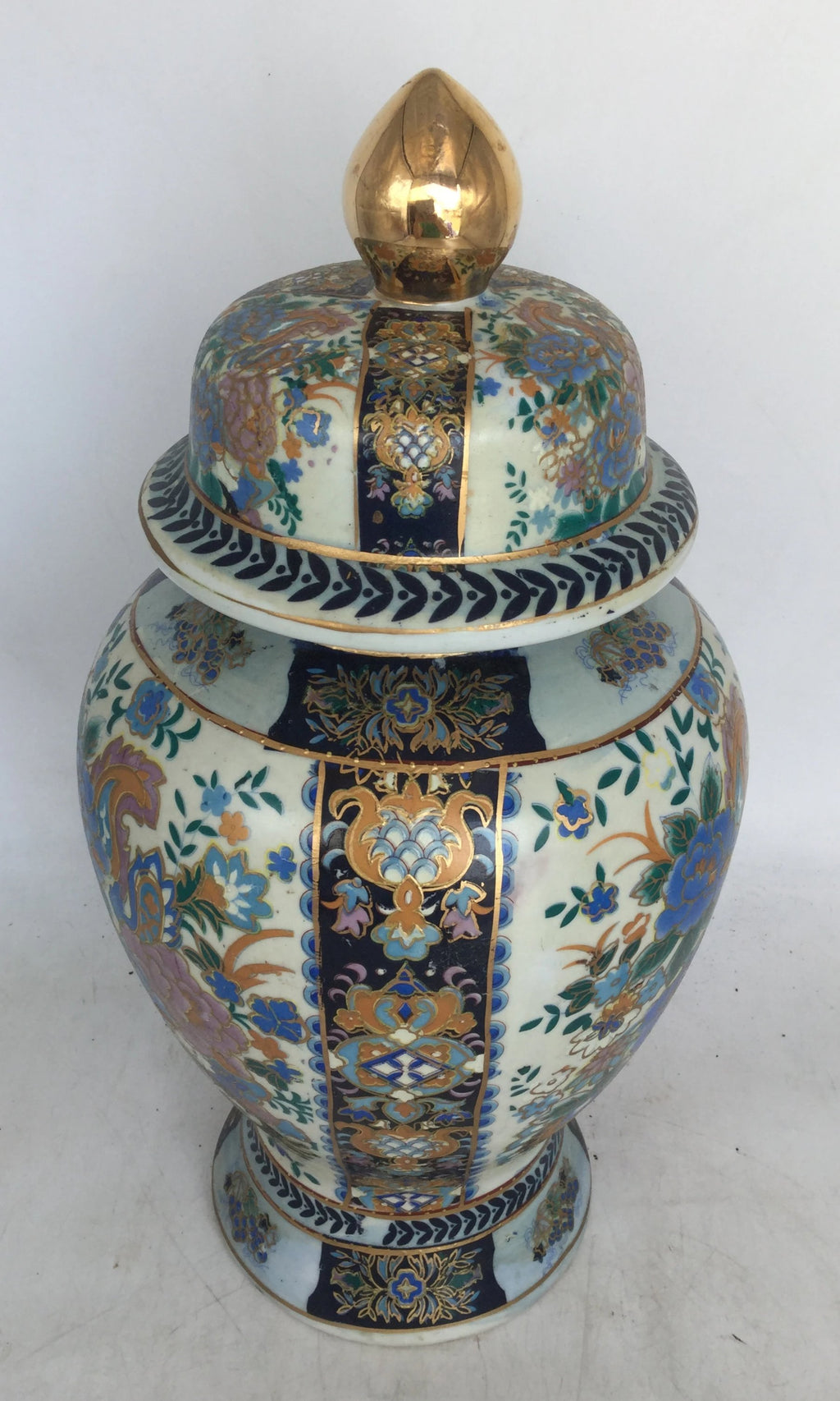 LARGE BLUE AND GOLD GINGER JAR