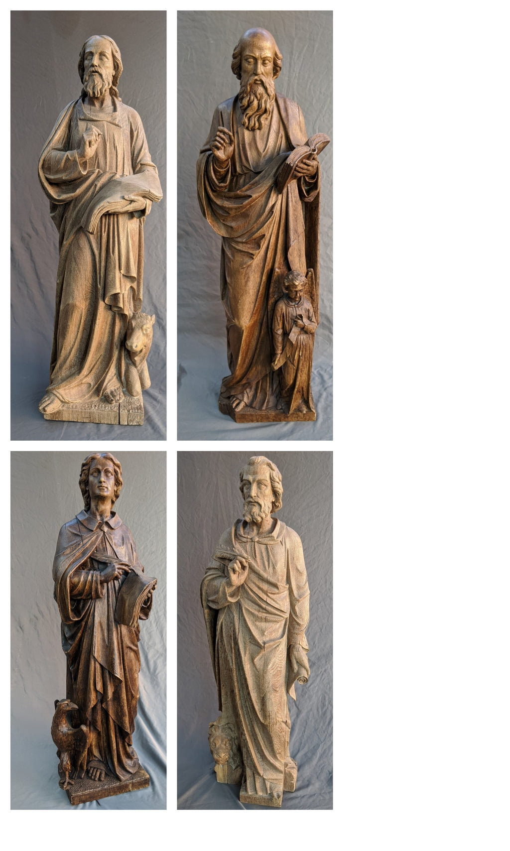 SET OF CARVED OAK STATUES OF THE 4 EVANGELISTS: MATTHEW, MARK, LUKE, AND JOHN