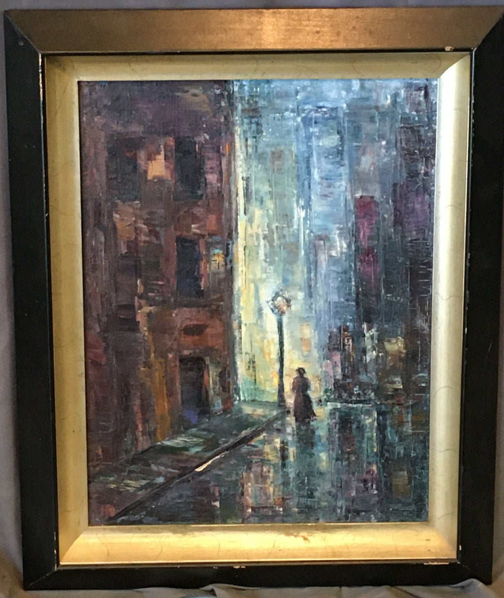 IMPRESSIONISTIC OIL ON CANVAS PAINTING OF NIGHT TIME CITY SCENE WITH LADY WALKING