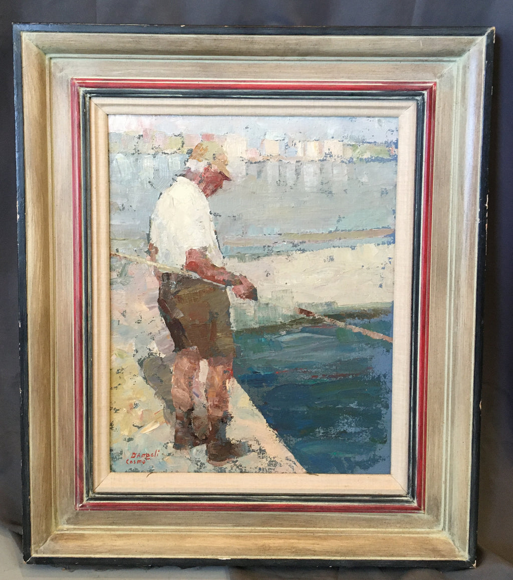 OIL ON CANVAS IMPRESSIONISTIC PAINTING OF A MAN FISHING