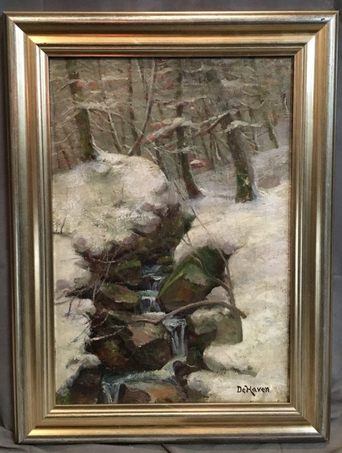 SNOWY CREEK LANSCAPE OIL PAINTING BY DEHAVEN