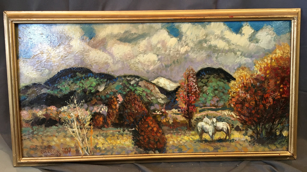 OIL ON CANVAS IMPRESSIONISTIC PAINTING OF COLORFUL MOUNTAIN SCENE WITH TWO HORSES