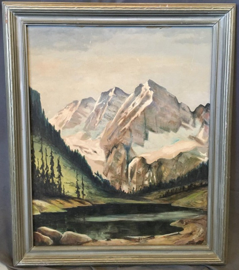 VERTICAL MOUNTAIN WINTER LANDSCAPE OIL PAINTING ON BOARD BY MICKLEROY