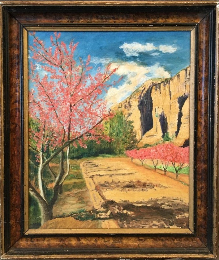 OIL ON BOARD LANDSCAPE WITH PINK LEAVE TREES ALONG A CLIFF
