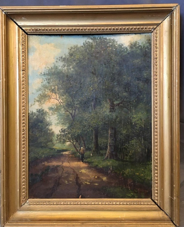 OIL PAINTING ON BOARD OF LADY ON A TRAIL IN A DEEP FOREST AS FOUND