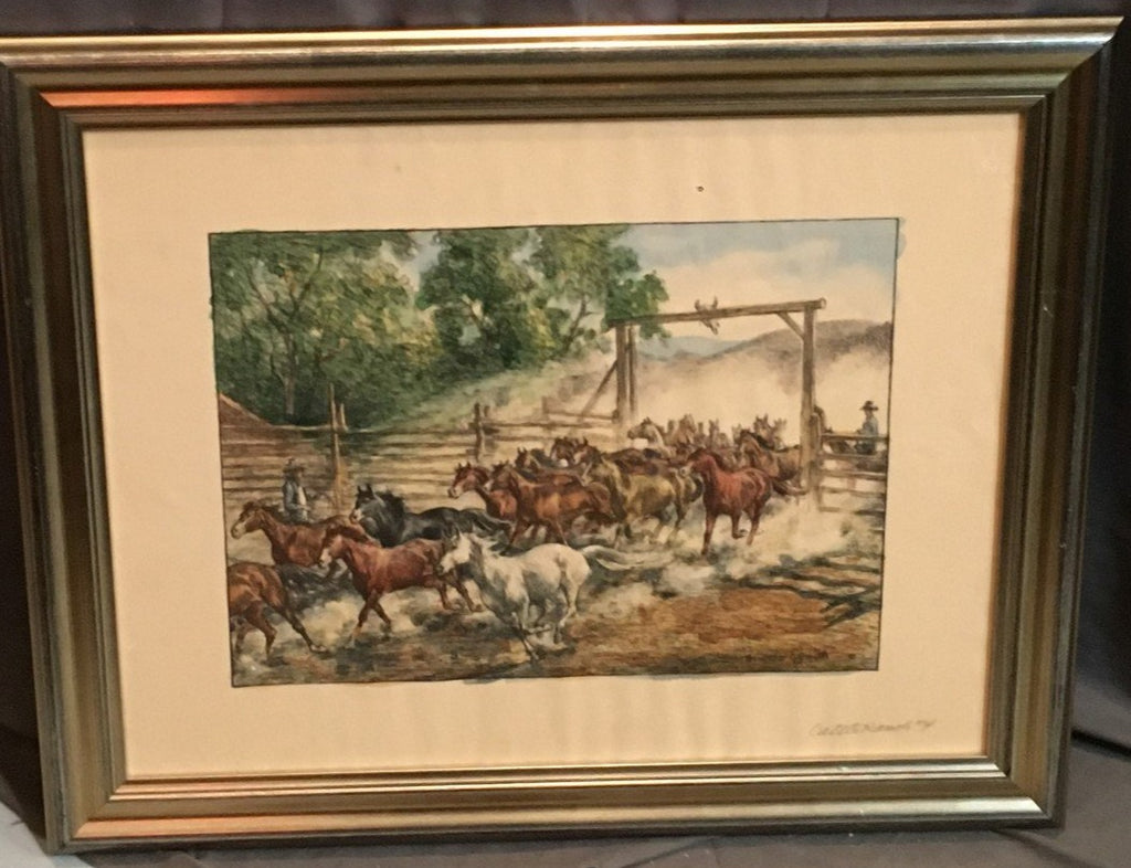 WESTERN WATERCOLOR LANDSCAPE WITH WILD HORSES-CATTLE RANCH #4