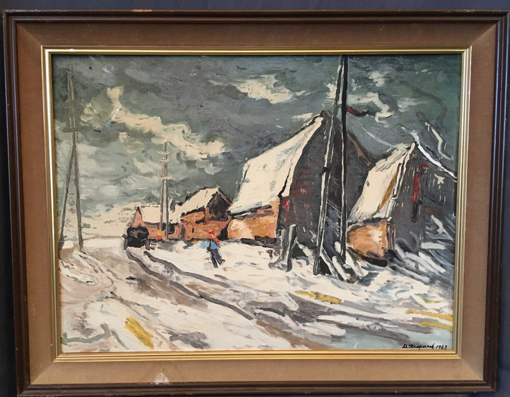 IMPRESSIONIST OIL PAINTING OF SNOW COVERED BUILDINGS AND DARK SKY