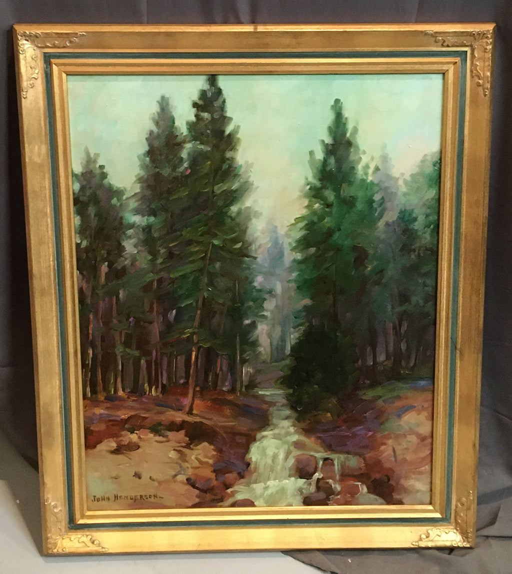 OIL PAINTING ON CANVAS  OF TALL PINES WITH RIVER SCENE