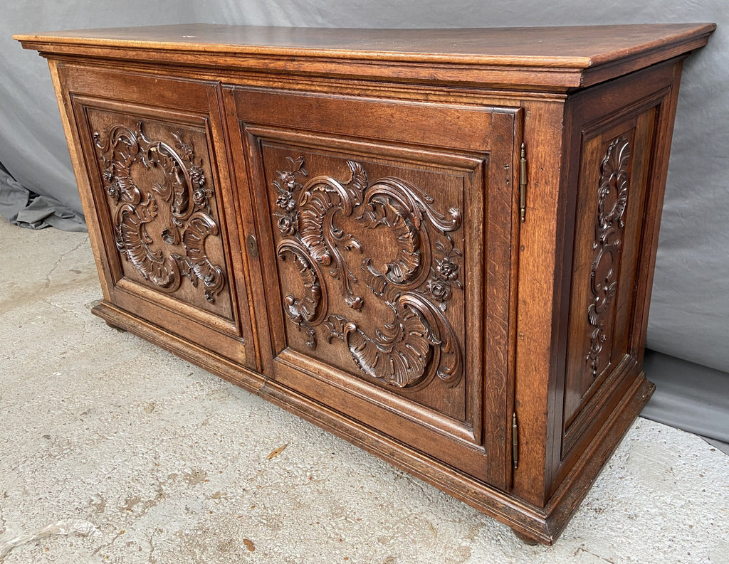 19TH CENTURY CARVED OAK FRENCH CRESCENT SIDEBOARD