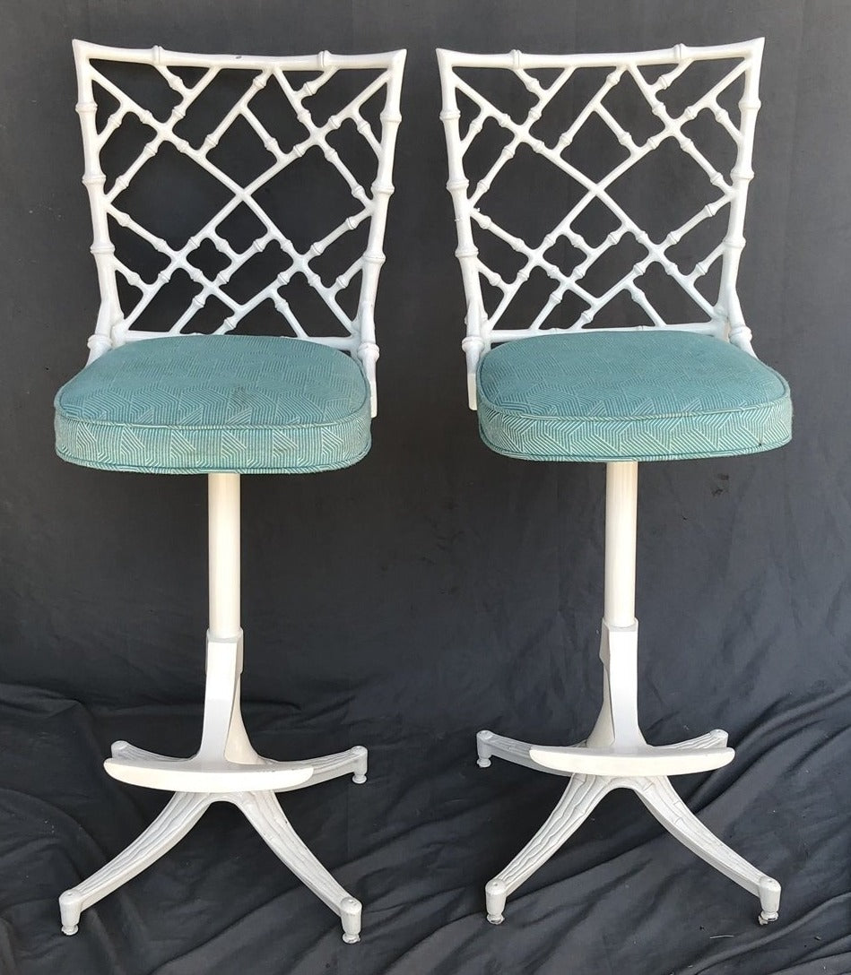 PAIR OF WHITE METAL FAUX BAMBOO BAR STOOLS