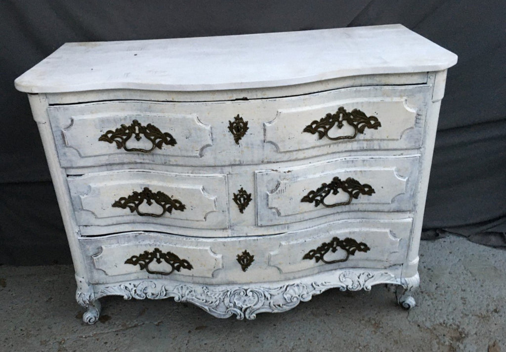 LOUIS XV STYLE SERPENTINE FRONT PAINTED CHEST-REPLACED TOP