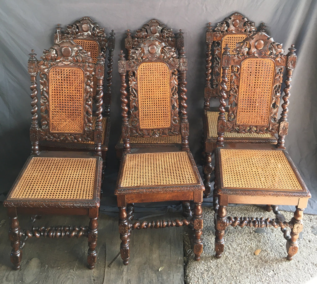 SET OF 6 LOUIS XIII BARLEY TWIST OAK CHAIRS WITH CARTOUCHE CROWN & CANE WOVEN SEAT AND BACK
