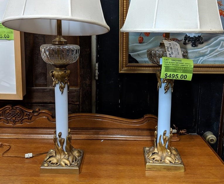 PAIR OF 19TH CENTURY FRENCH BRONZE AND GLASS LAMPS (as found)