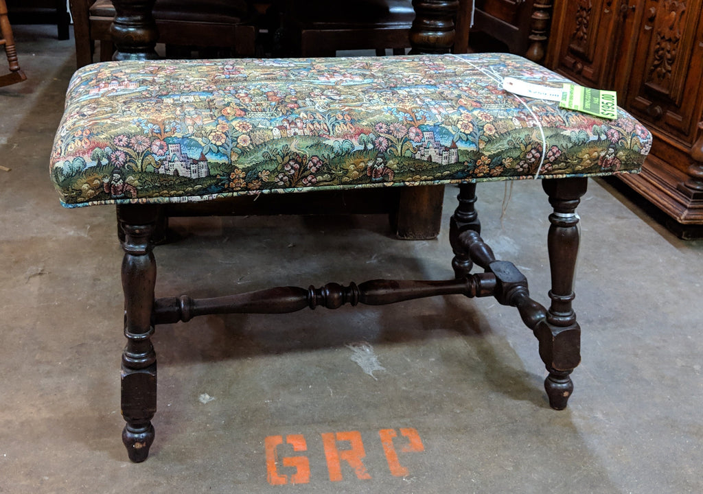 TAPESTRY BENCH WITH CANTED LEGS