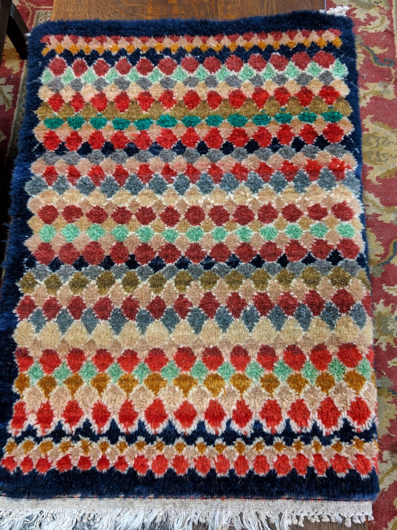 1950'S SMALL HAND KNOTTED GEOMETRIC RUG