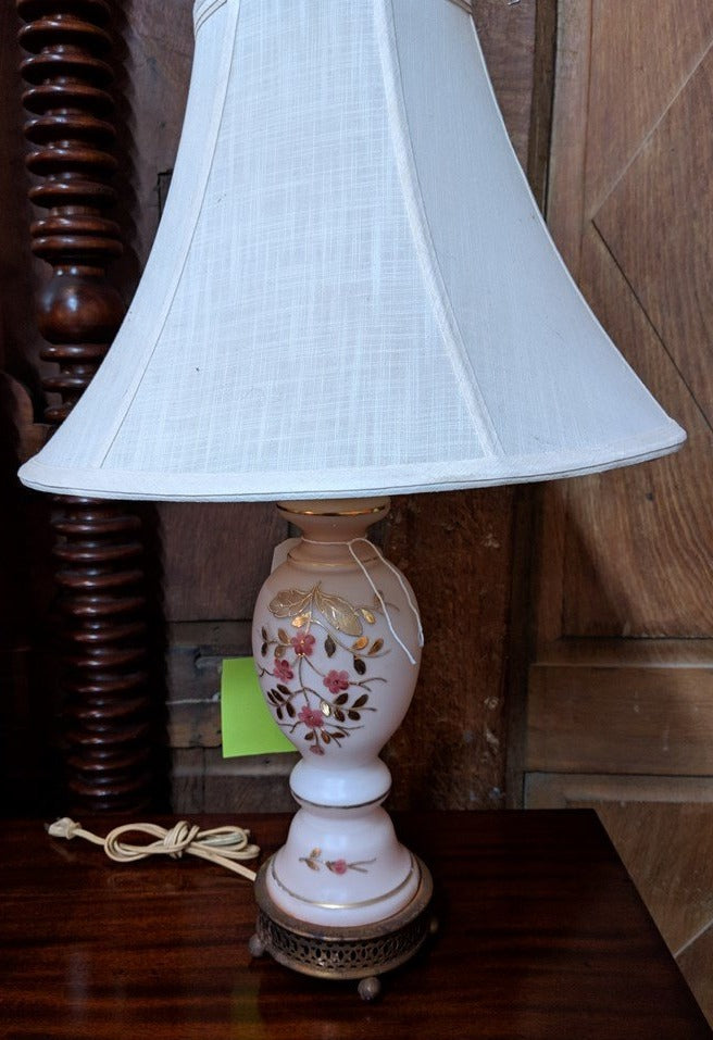 PINK FLORAL BOUDOIR LAMP WITH WHITE SHADE
