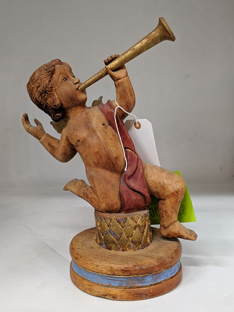 WOOD TRUMPET PLAYING PUTTI STATUE