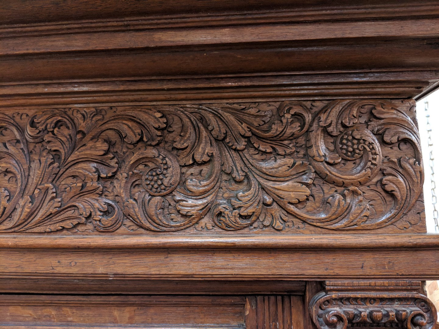 EARLY FLEMISH CARVED 3 PIECE CABINET AS FOUND