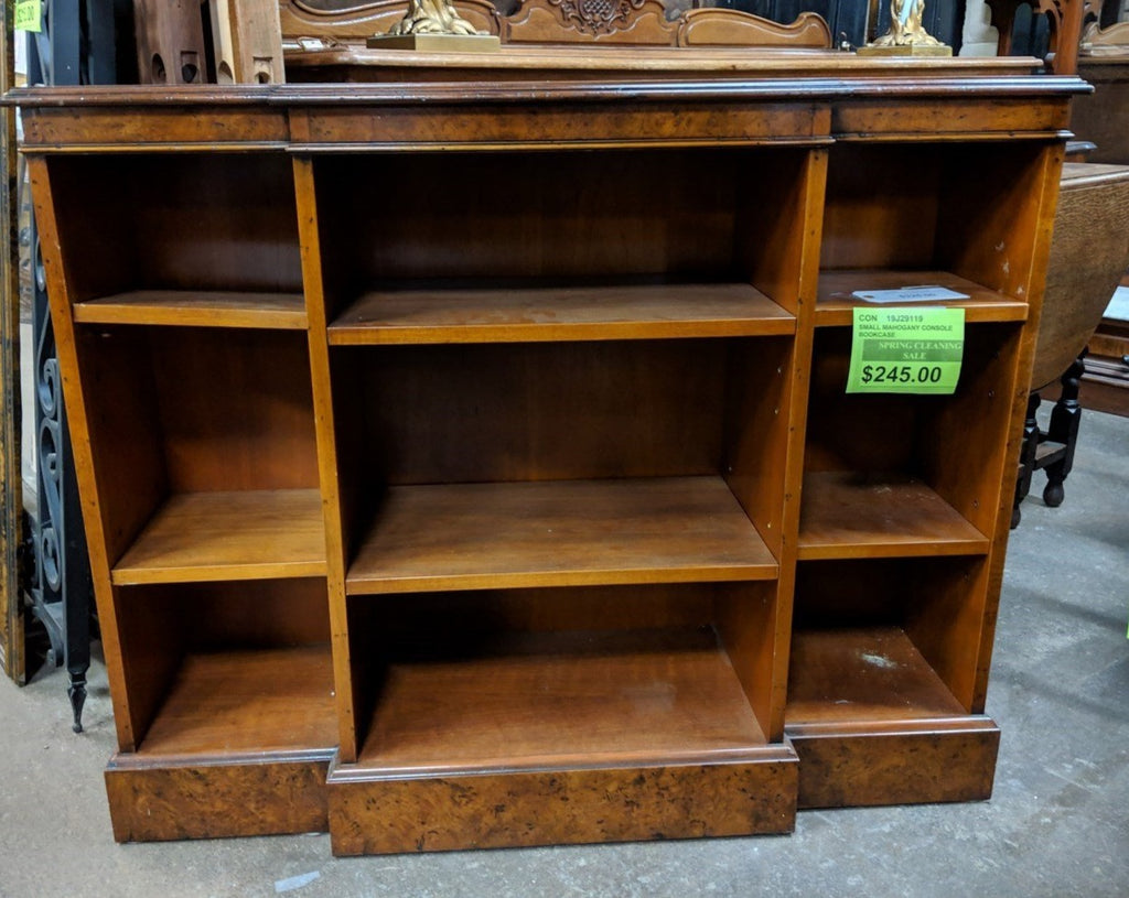 SMALL BURLWOOD VENEER CONSOLE BOOKCASE-NOT OLD