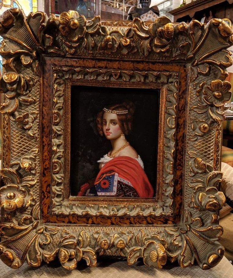 FRAMED OIL PAINTING OF YOUNG LADY