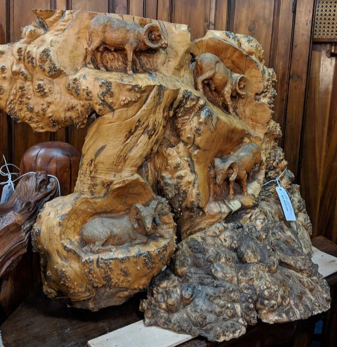 CARVED BURLED WOOD MOUNTAIN GOAT STATUE