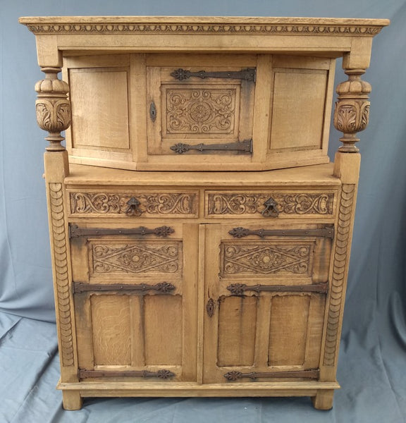 SMALL FRENCH STRIPPED OAK COURT CUPBOARD