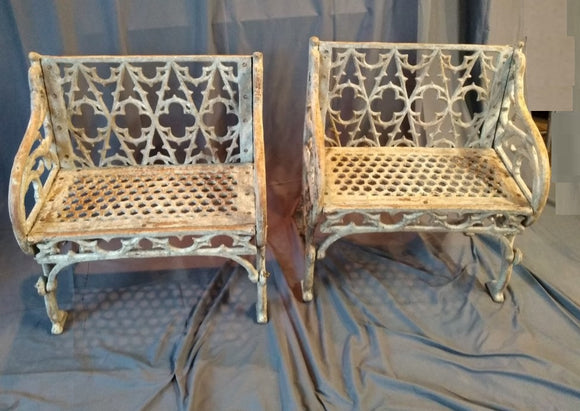 PAIR OF HEAVY IRON GOTHIC STYLE CHAIRS