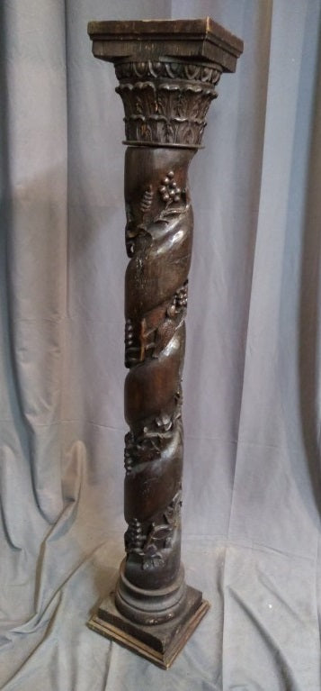 GRAPEVINE CARVED OAK PEDESTAL