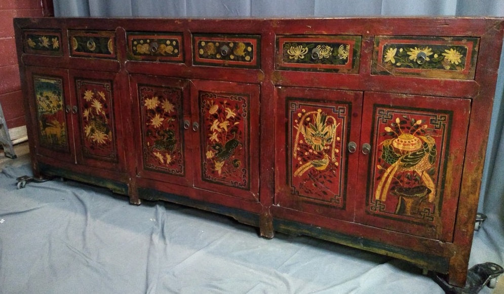 LONG CHINESE PAINTED CHINESE CONSOLE OR SIDEBOARD