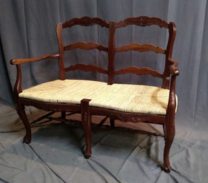 COUNTRY FRENCH STYLE RUSH SEAT BENCH-NOT OLD