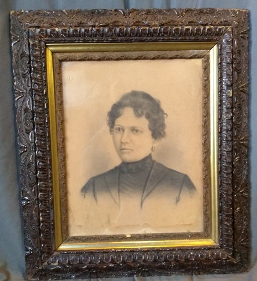 SEPIA TONE WOMAN PICTURE IN NICELY CARVED WOOD AND GESSO FRAME
