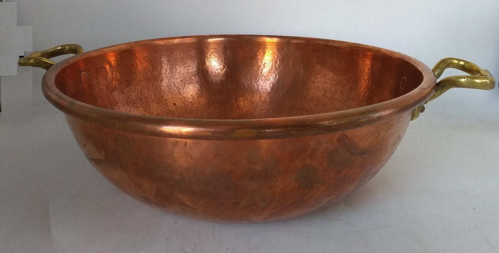 LARGE COPPER PAN WITH BRASS HANDLES