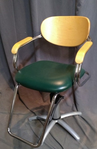 TALL SALON GREEN SWIVEL CHAIR