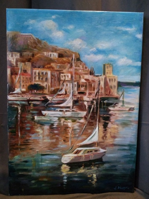 UNFRAMED SAILBOAT IN HARBOR ACRYLIC PAINTING BY HARDY MARTIN