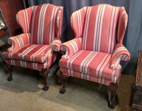PAIR GEORGIAN STYLE WINGBACK CHAIRS