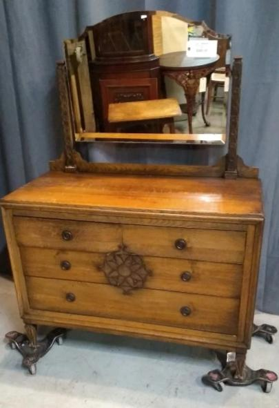 FRETWORK CARVED OAK DRESSER WITH MIRROR