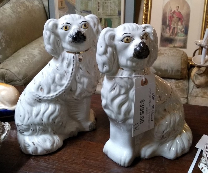 PAIR OF SMALL STAFFORDSHIRE DOGS