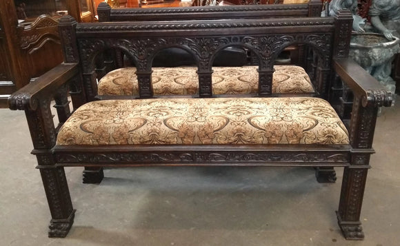 PAIR OF CARVED SPANISH BENCHES WITH CARVED ROMAN ARCHES