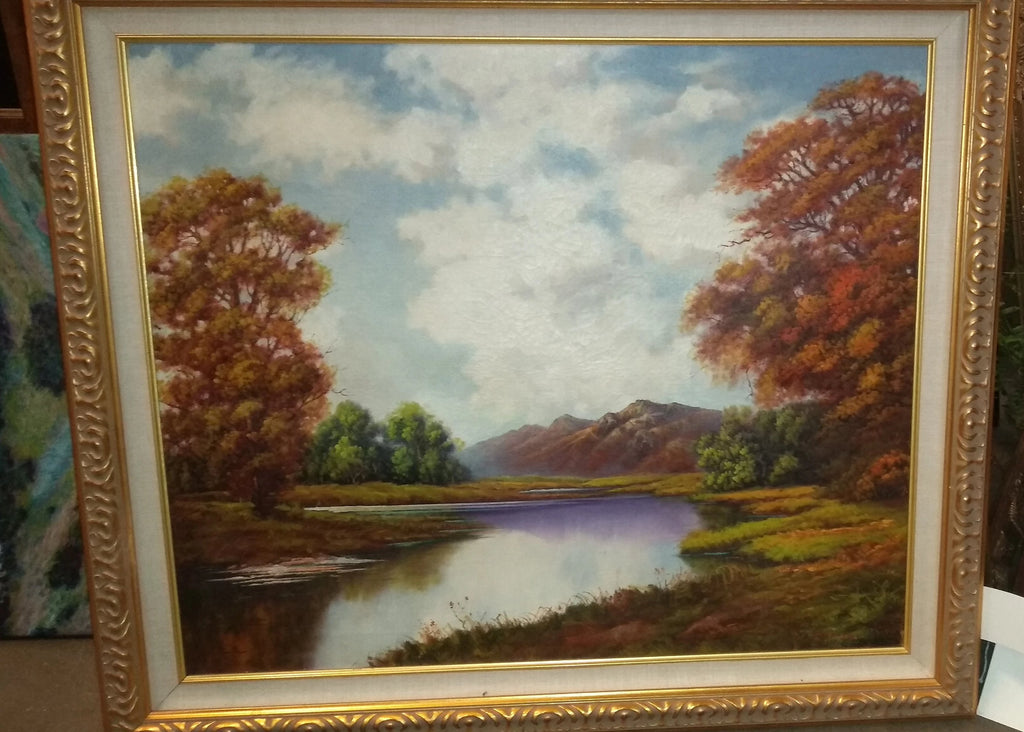 LARGE NICELY FRAMED AUTUMN LANDSCAPE OIL PAINTING