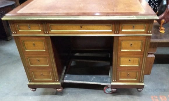 SMALL SPALTED MAHOGANY LEATHER TOP LOUIS XVI  DESK