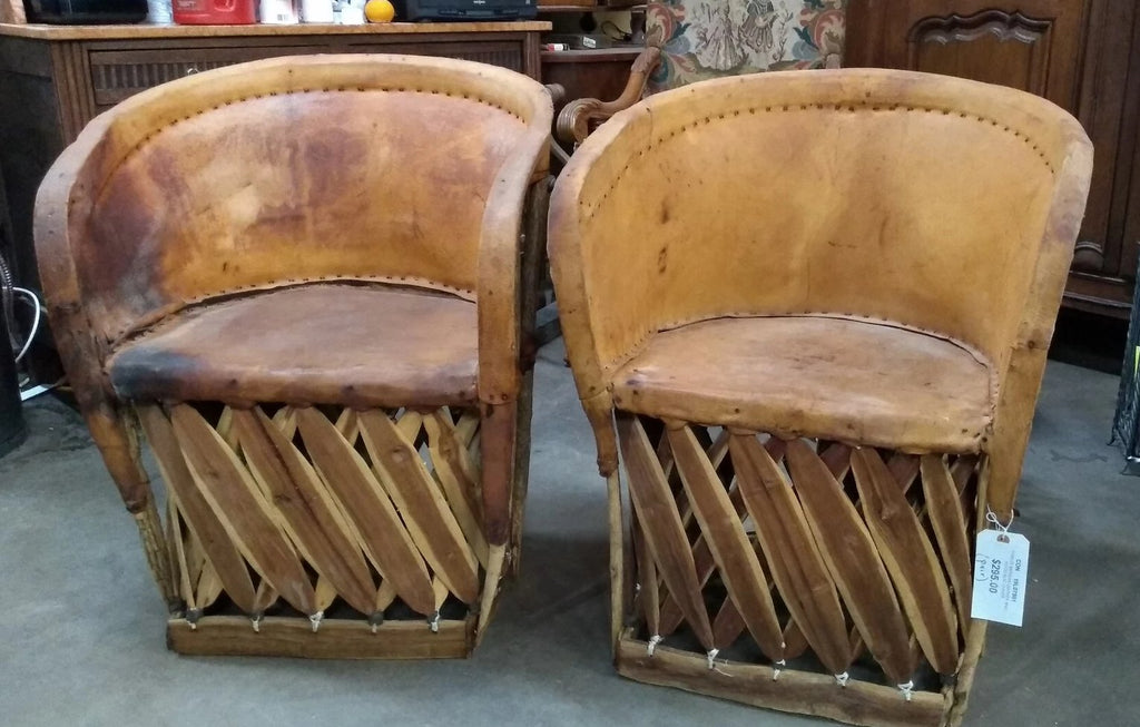 PAIR OF MEXICAN LEATHER AND WOOD SLAT CHAIRS